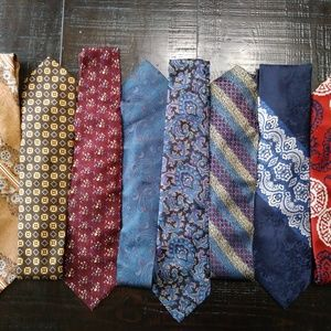 8 Vintage Assorted Neck Ties Silk & Polyester E9
